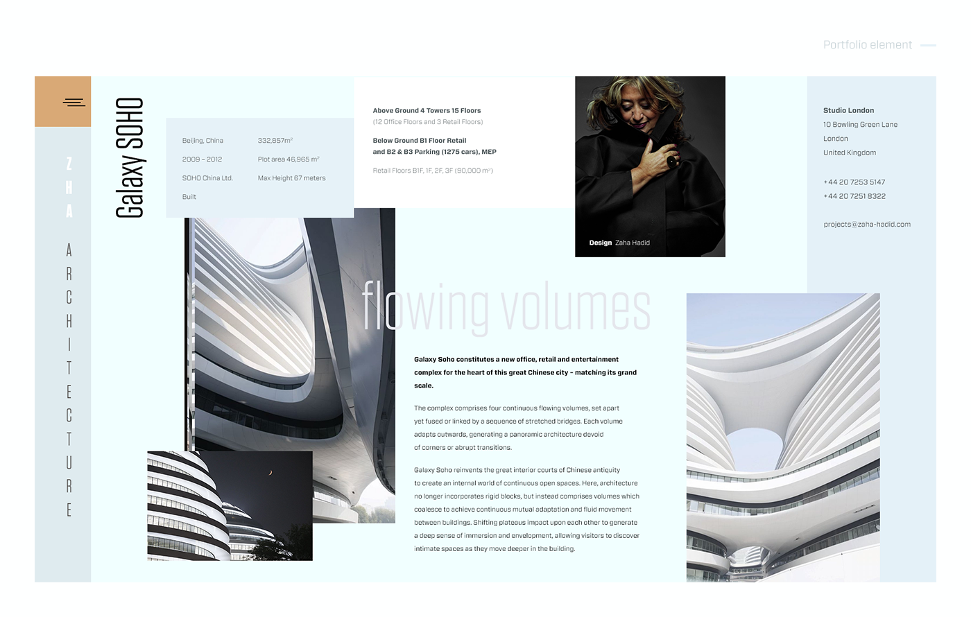 Zaha Hadid Architects Portfolio Element