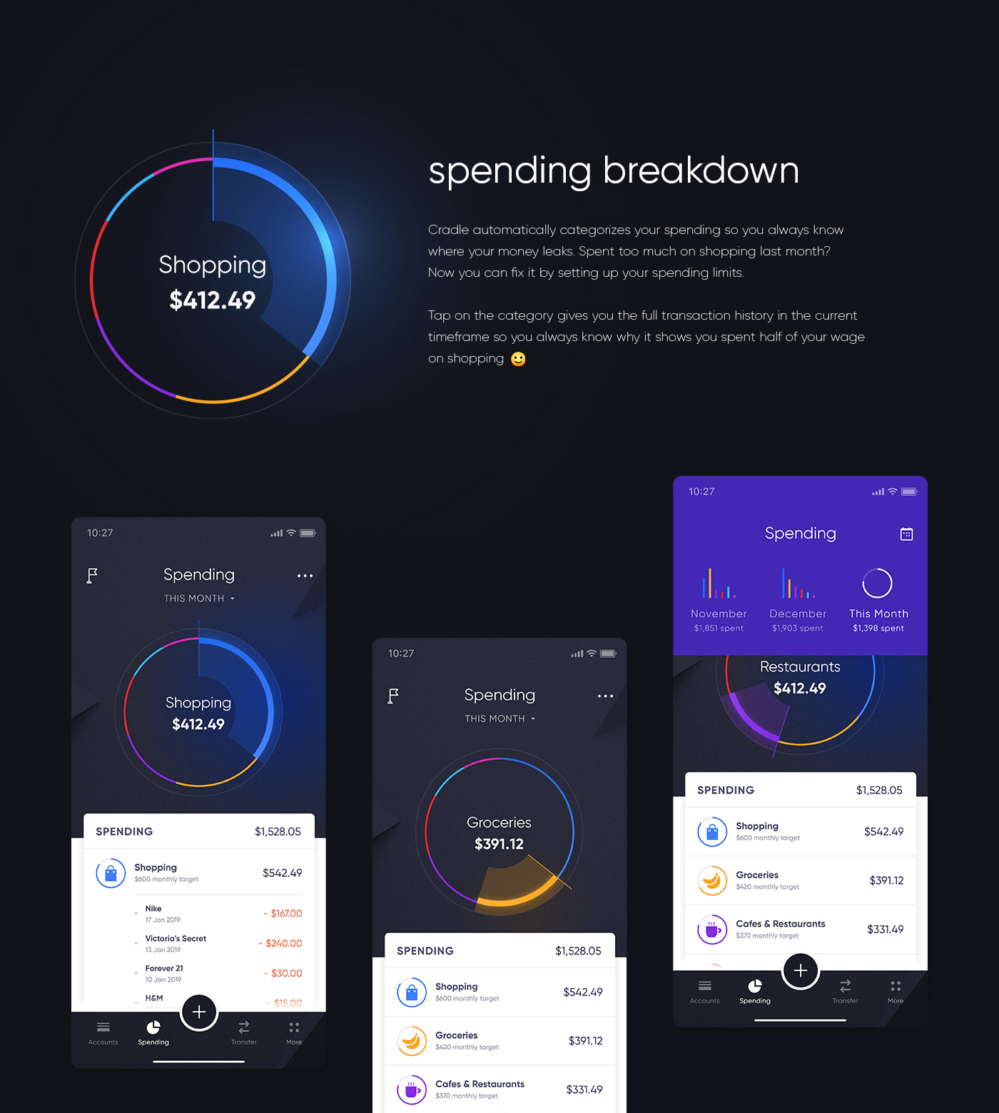 Cradle app design — spending